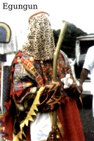 A character from the Afrikan ancestral celebrations called Egungun
